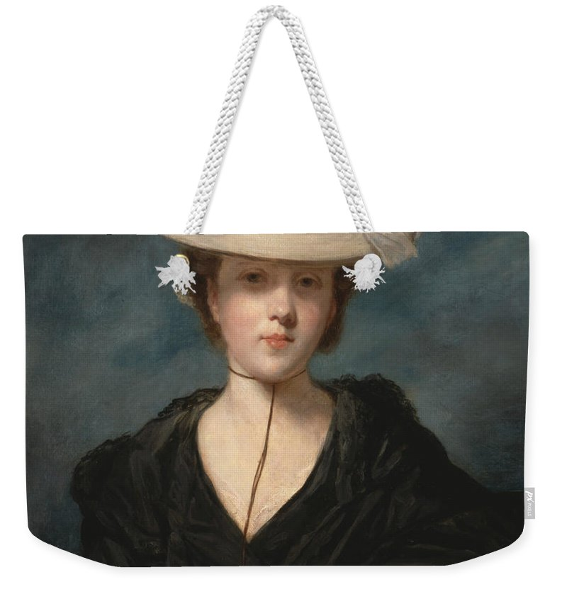 18th Century Art Weekender Tote Bag featuring the painting Miss Mary Hickey by Joshua Reynolds