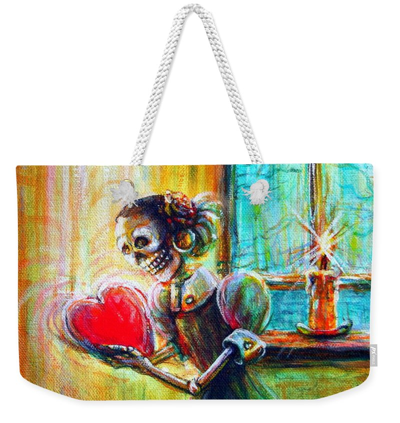 Miss You Weekender Tote Bag featuring the painting Missing You by Heather Calderon