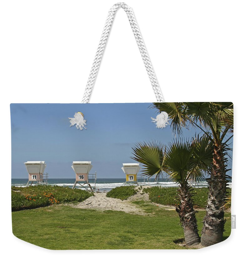 Beach Weekender Tote Bag featuring the photograph Mission Beach Shelters by Margie Wildblood