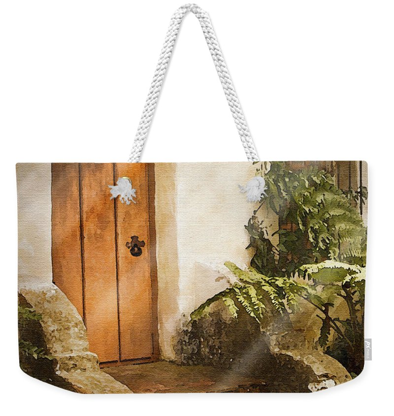 Mission Weekender Tote Bag featuring the photograph Mission Door by Sharon Foster