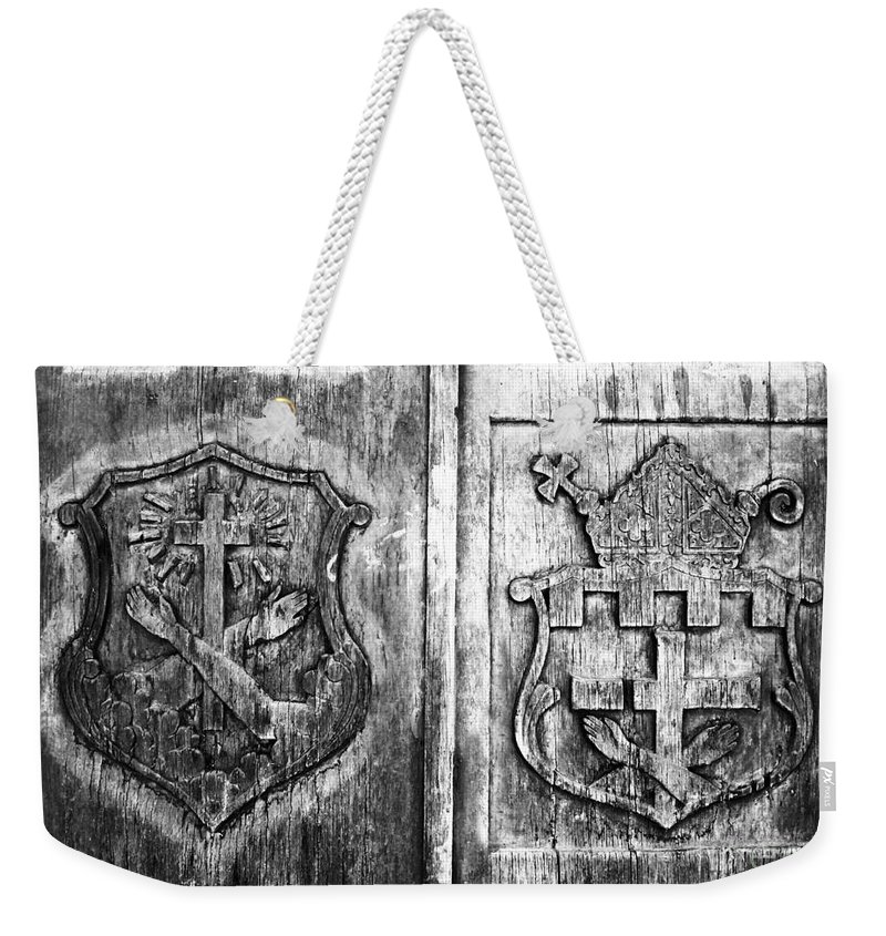 Mission Weekender Tote Bag featuring the photograph Mission Doors by David Lee Thompson