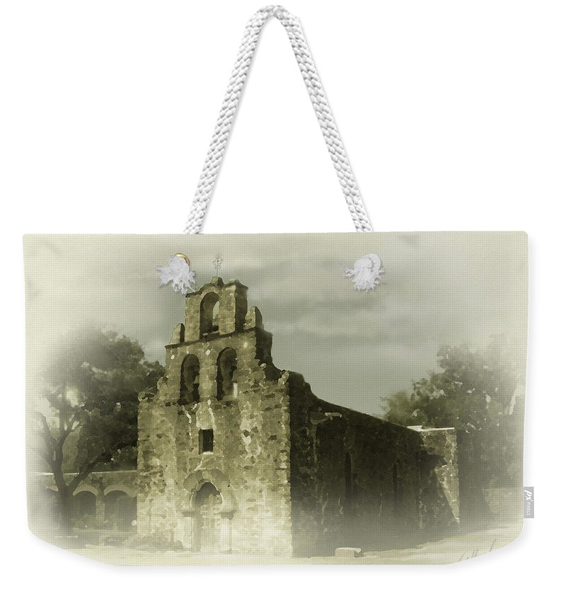 Digital Art Weekender Tote Bag featuring the painting Mission Espada by Cliff Hawley