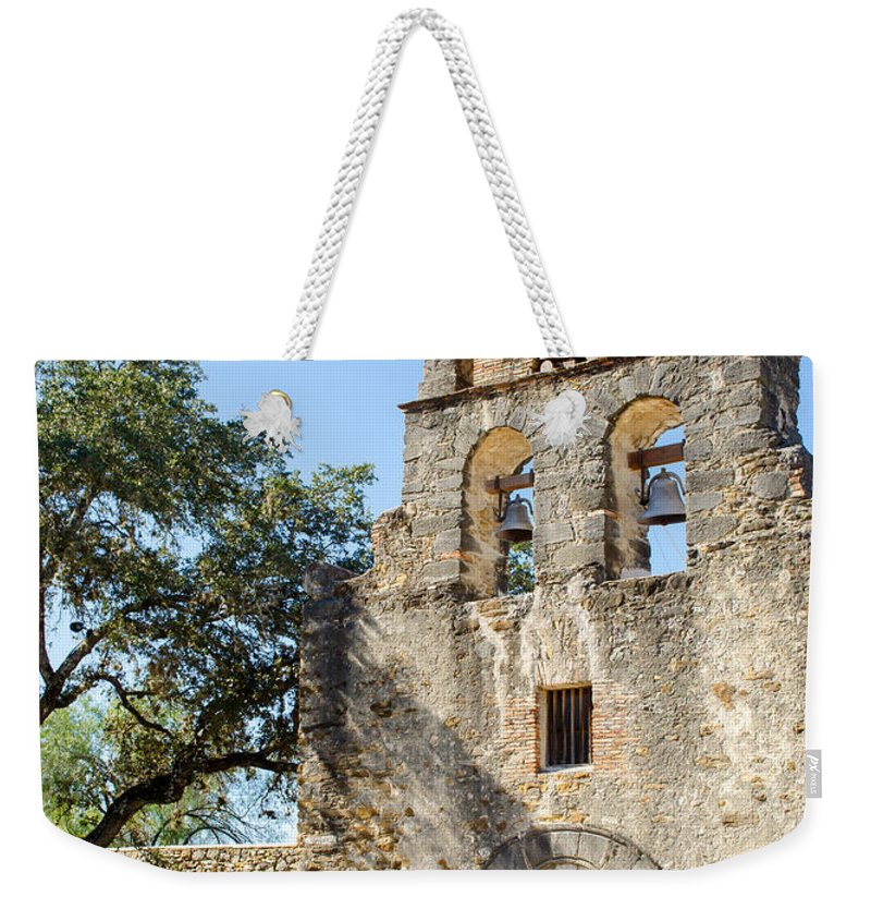 Espada Weekender Tote Bag featuring the photograph Mission Espada-vertical by Shanna Hyatt
