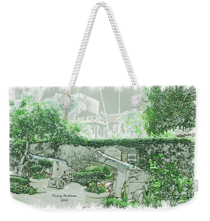 Mission Inn Weekender Tote Bag featuring the digital art Mission Inn Cannons by Tommy Anderson