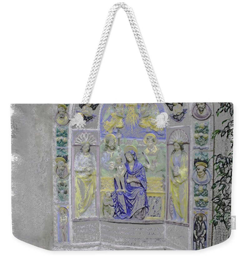 Mission Inn Weekender Tote Bag featuring the digital art Mission Inn Chapel by Tommy Anderson