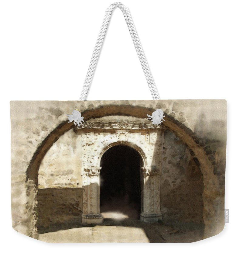 Digital Art Weekender Tote Bag featuring the painting Mission San Jose Back Door by Cliff Hawley