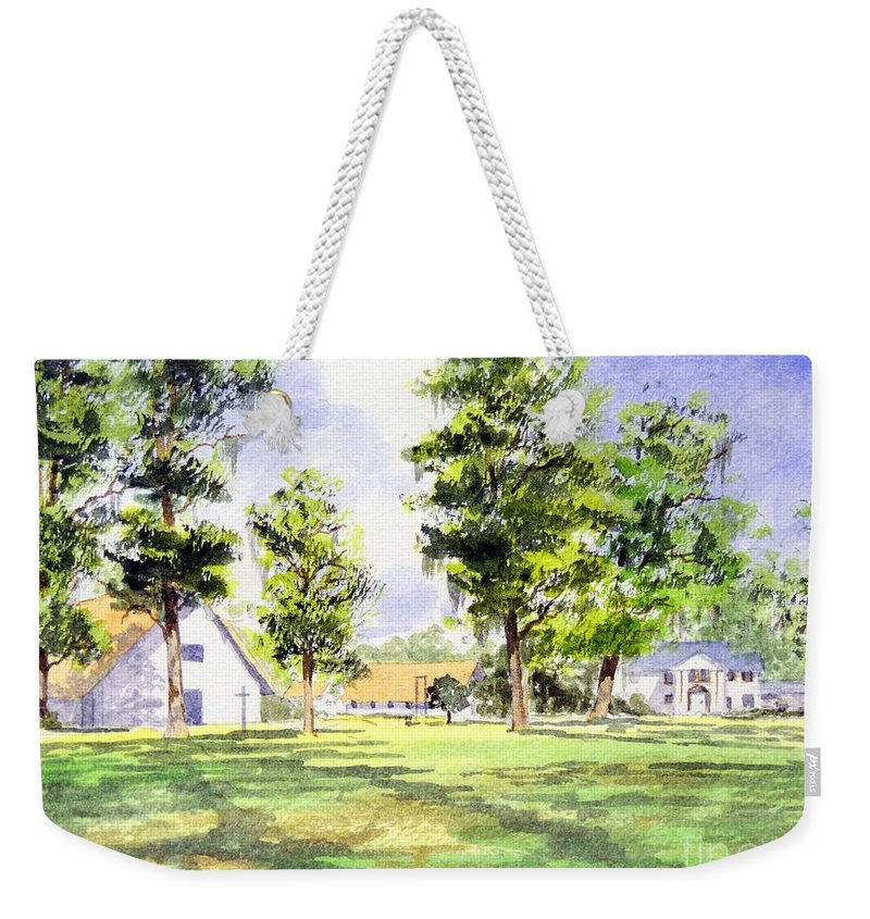 Mission San Luis Weekender Tote Bag featuring the painting Mission San Luis by Bill Holkham