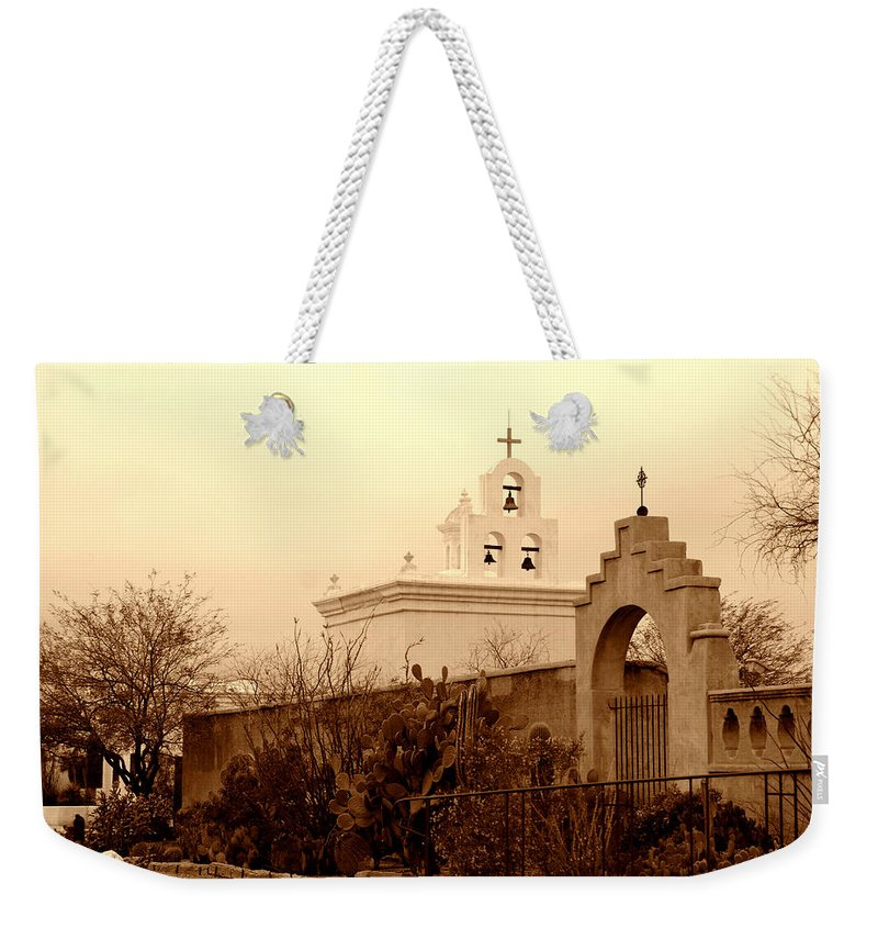 Photography Weekender Tote Bag featuring the photograph Mission San Xavier Chapel by Susanne Van Hulst