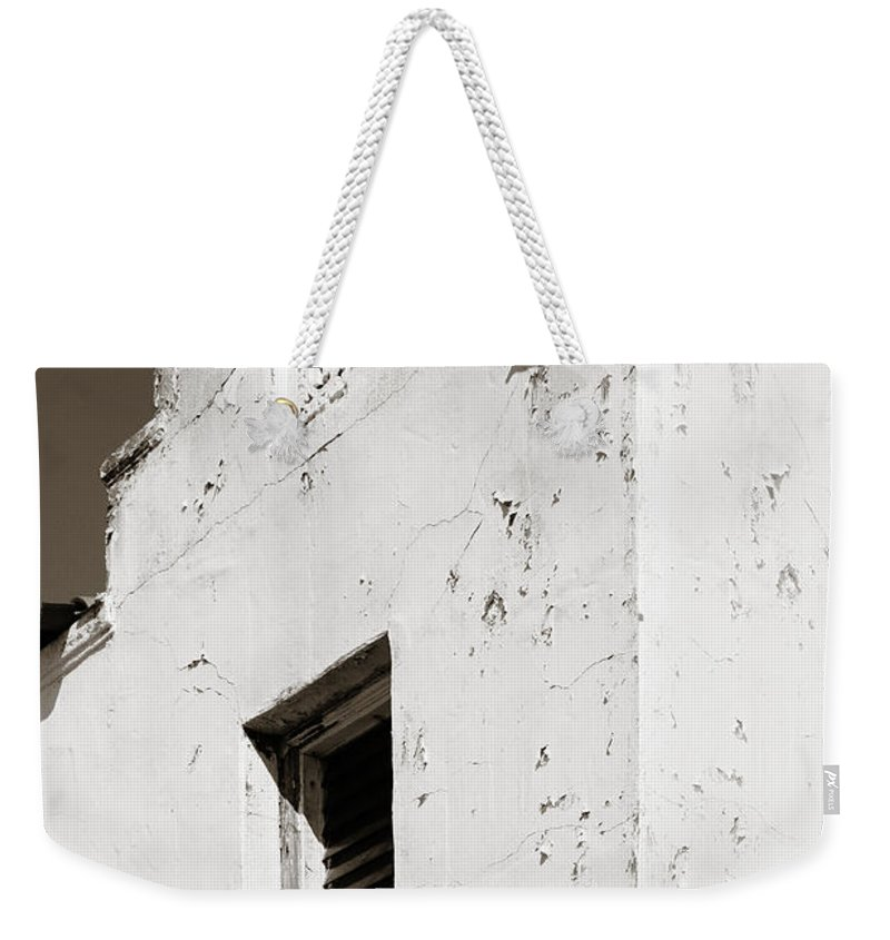 Mission Weekender Tote Bag featuring the photograph Mission Stucco Building by Marilyn Hunt