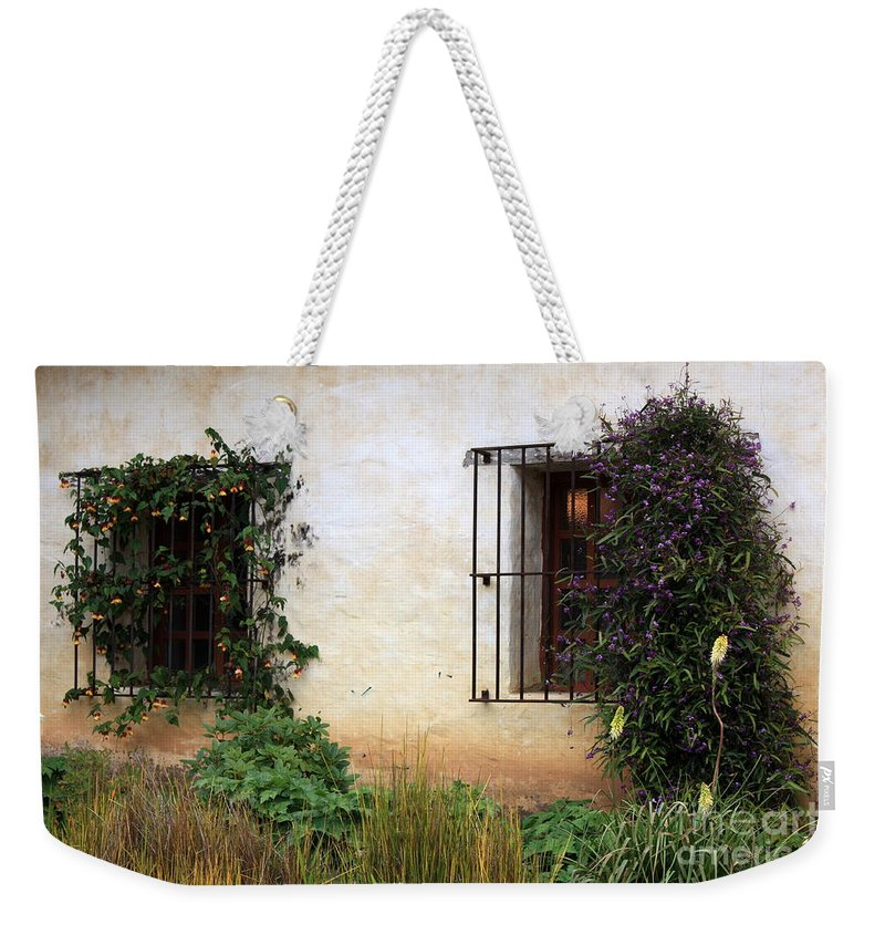 Vines Weekender Tote Bag featuring the photograph Mission Windows by Carol Groenen