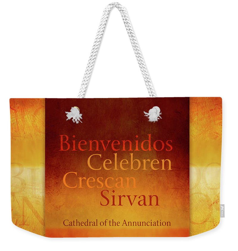 Weekender Tote Bag featuring the digital art Mission Words, Spanish by Terry Davis