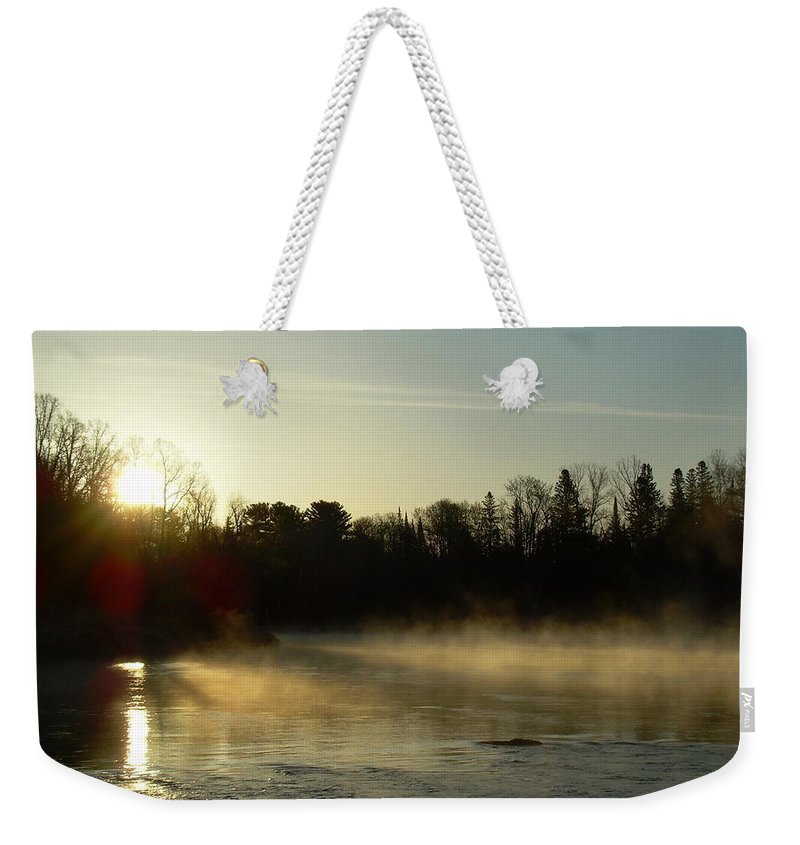 Mississippi River Weekender Tote Bag featuring the photograph Mississippi River Dawn Light Rays by Kent Lorentzen