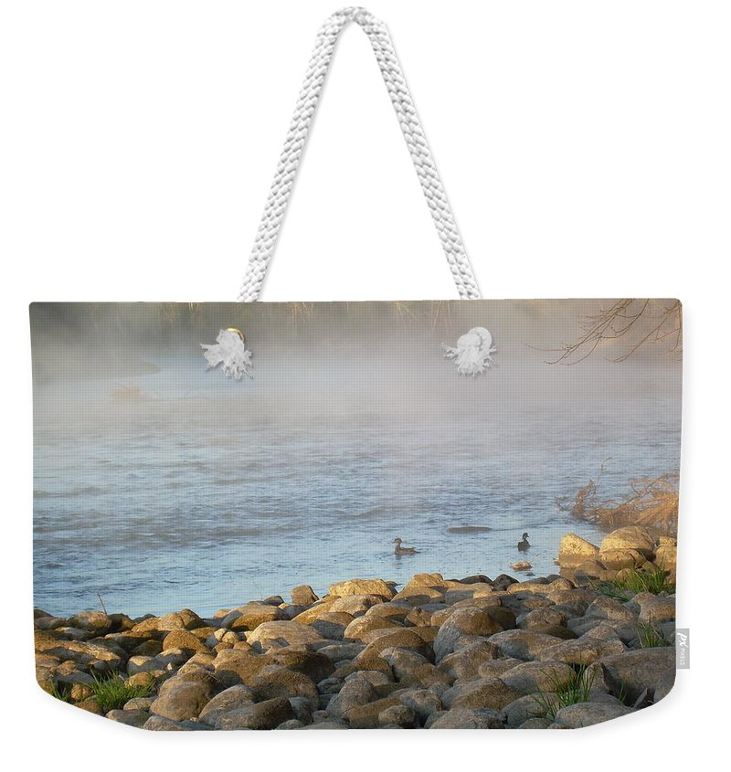 Mississippi River Weekender Tote Bag featuring the photograph Mississippi River Duck Duck Dawn by Kent Lorentzen