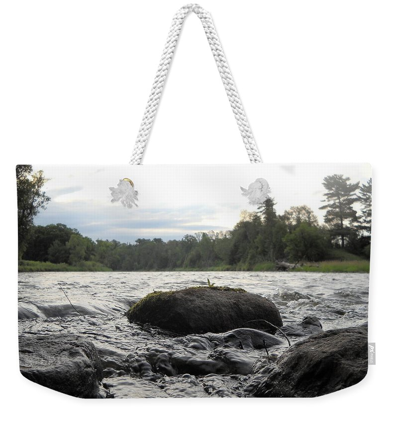 Mississippi River Weekender Tote Bag featuring the photograph Mississippi River Rocks At Dawn by Kent Lorentzen