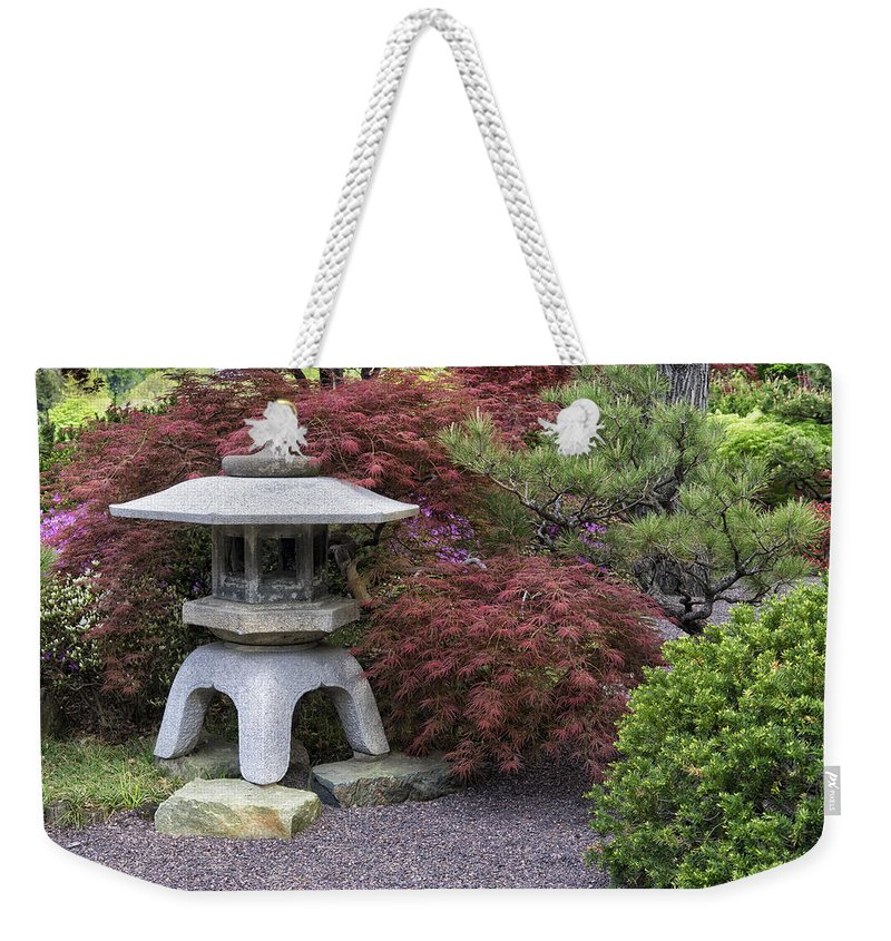 Landscape Weekender Tote Bag featuring the photograph Missouri Botanical Garden A Japanese Snow Viewing Lantern Spring Time Dsc01783 by Greg Kluempers