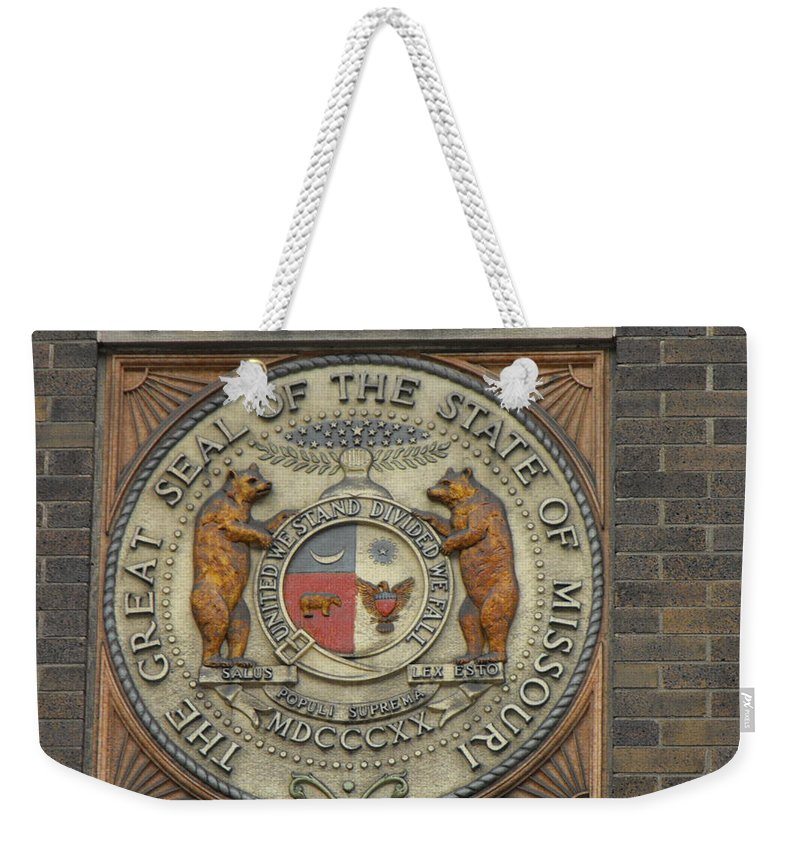 Armory Weekender Tote Bag featuring the photograph Missouri Great Seal by Ginger Repke