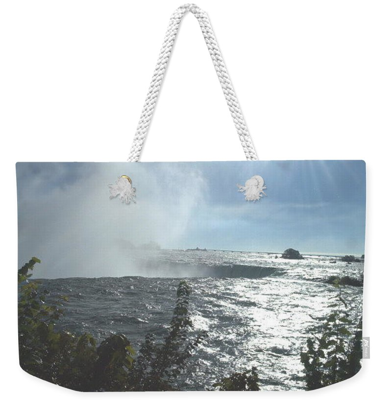 Landscape Weekender Tote Bag featuring the photograph Mist At The Falls by Debbie Levene