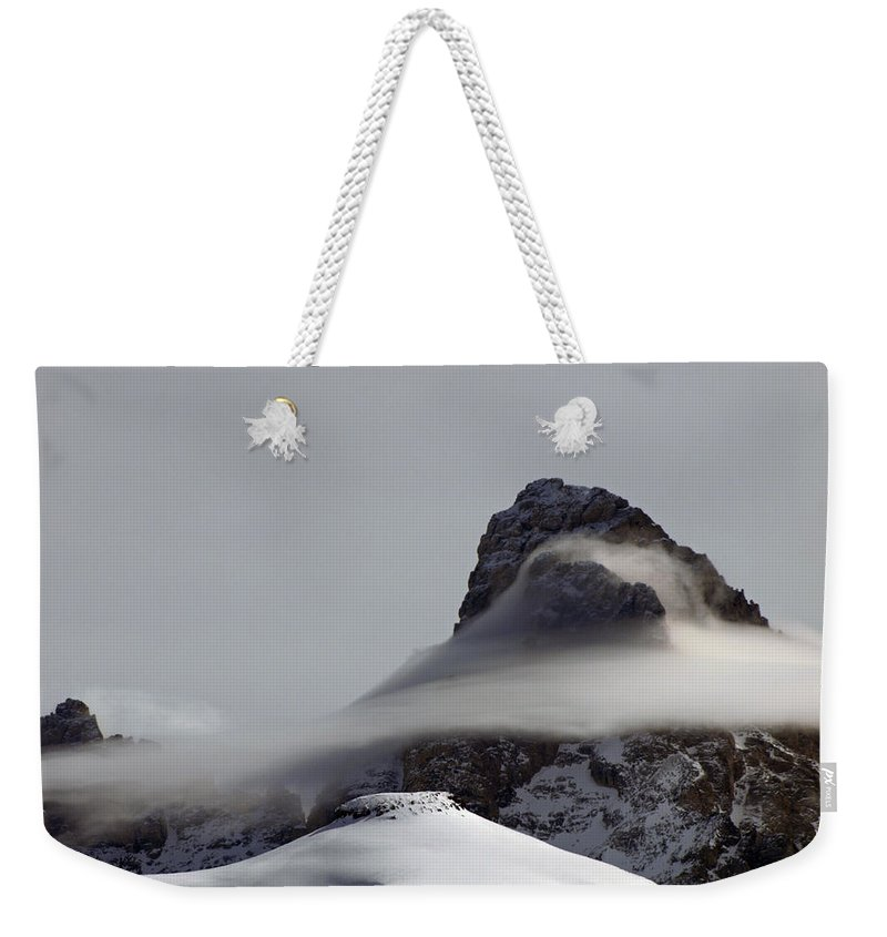 Landscape Weekender Tote Bag featuring the photograph Mist Embraces The Grand by DeeLon Merritt
