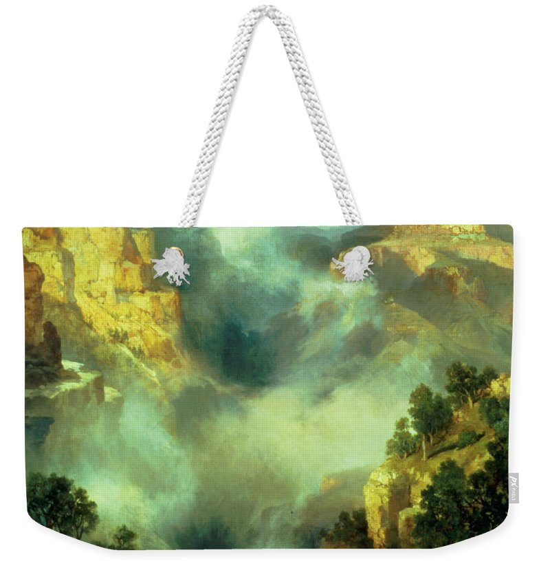 Thomas Weekender Tote Bag featuring the painting Mist In The Canyon by Thomas Moran