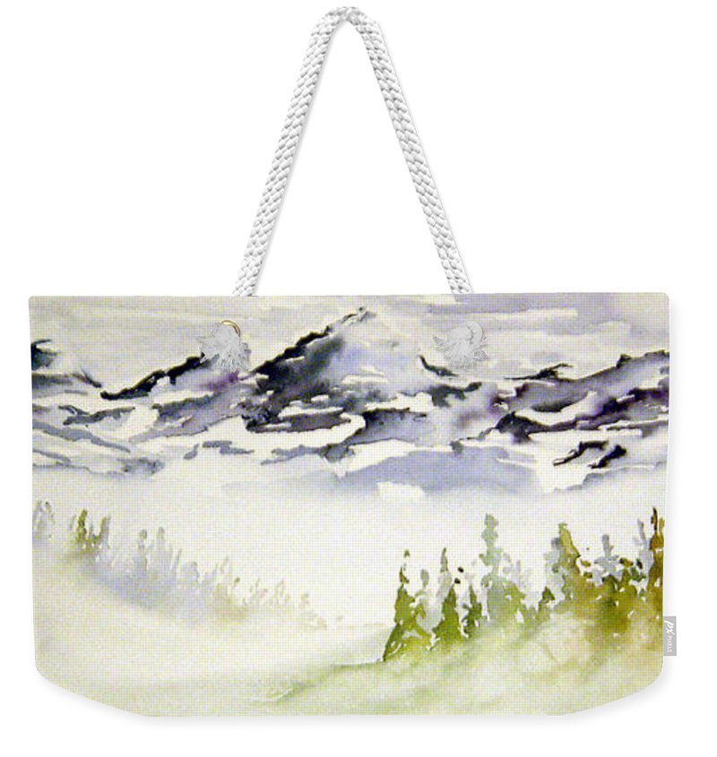 Rock Mountain Range Alberta Canada Weekender Tote Bag featuring the painting Mist In The Mountains by Joanne Smoley