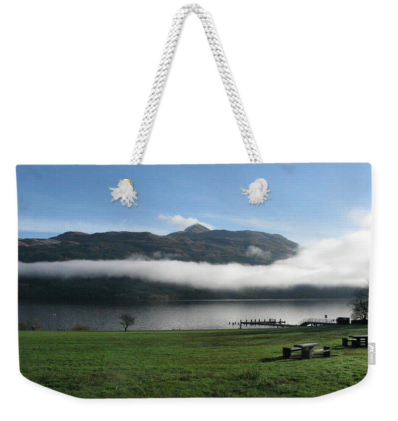 Loch Lomond Weekender Tote Bag featuring the photograph Mist by Maria Joy