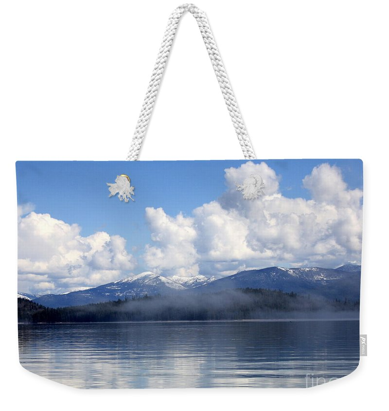 Priest Lake Weekender Tote Bag featuring the photograph Mist Over Priest Lake by Carol Groenen