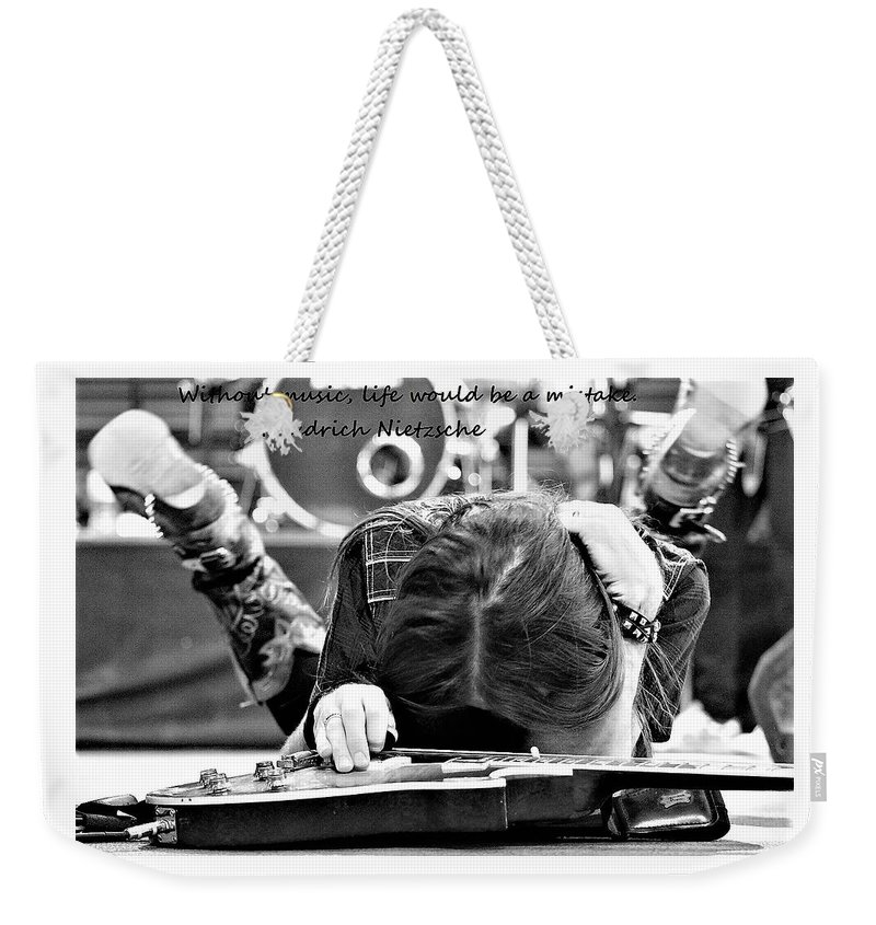 Music Weekender Tote Bag featuring the photograph Mistake by Ann Boulais