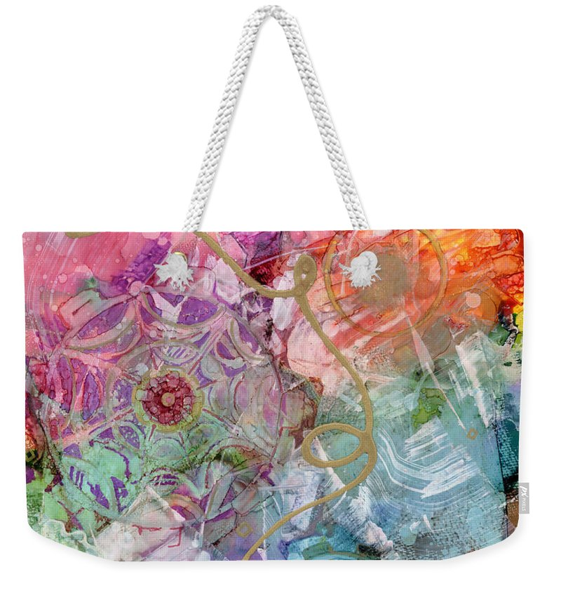 Alcohol Ink Weekender Tote Bag featuring the painting Misty Awakening by Vicki Baun Barry
