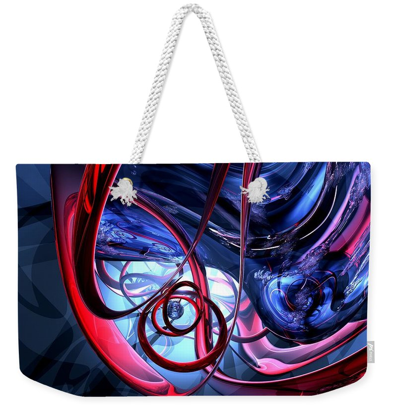 3d Weekender Tote Bag featuring the digital art Misty Dreams Abstract by Alexander Butler