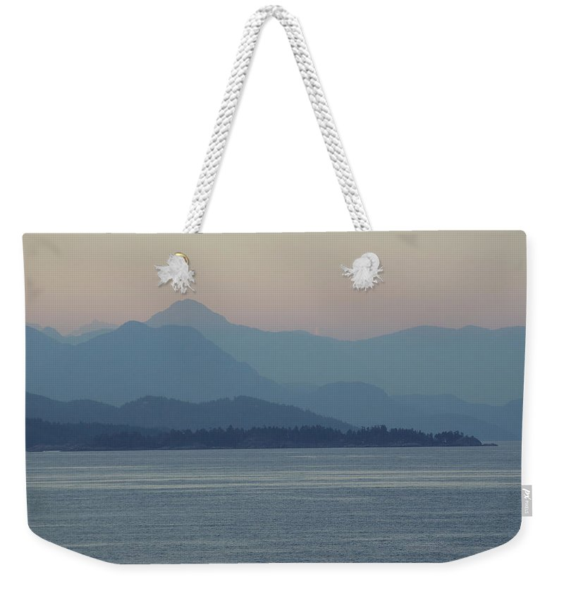 Weekender Tote Bag featuring the photograph Misty Hills On The Strait by Cindy Johnston