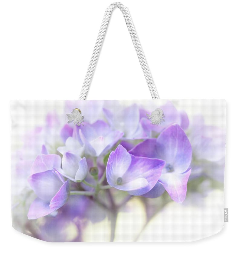 Hydrangea Weekender Tote Bag featuring the photograph Misty Hydrangea Flower by Jennie Marie Schell