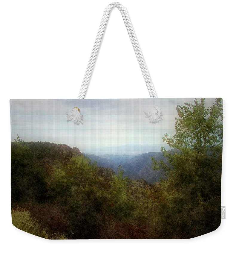 Cliffs Weekender Tote Bag featuring the digital art Misty Morn In The Mountains by RC DeWinter