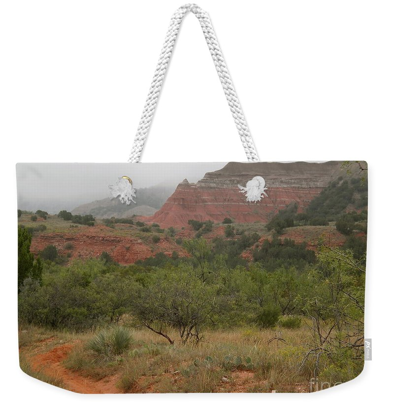 Palo Duro Canyon Weekender Tote Bag featuring the photograph Misty Morning In Palo Duro Canyon by Aimee Mouw