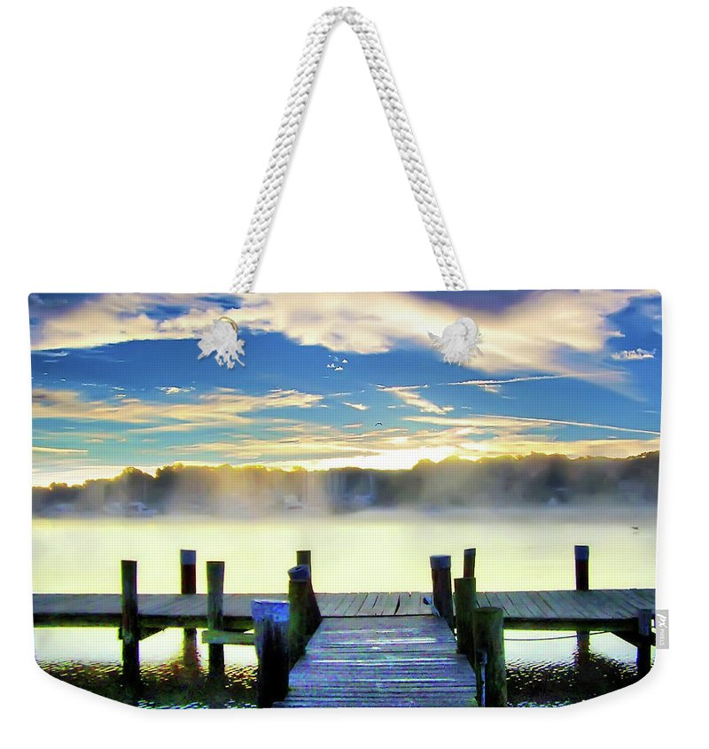 2d Weekender Tote Bag featuring the photograph Misty Morning On Rock Creek by Brian Wallace
