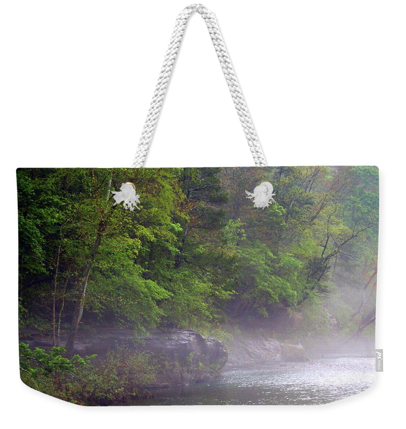 Buffalo National River Weekender Tote Bag featuring the photograph Misty Morning On The Buffalo by Marty Koch