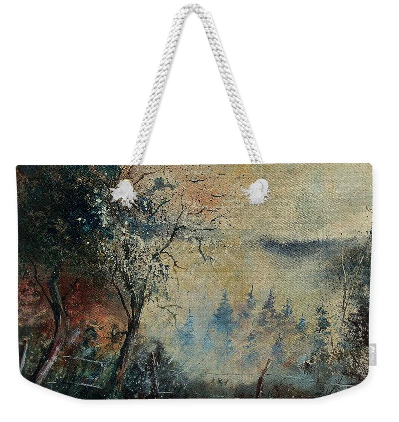 Tree Weekender Tote Bag featuring the painting Misty Morning by Pol Ledent