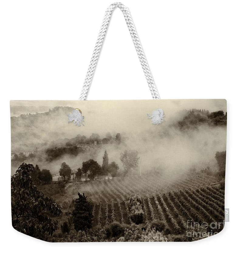 Tuscany Weekender Tote Bag featuring the photograph Misty Morning by Silvia Ganora