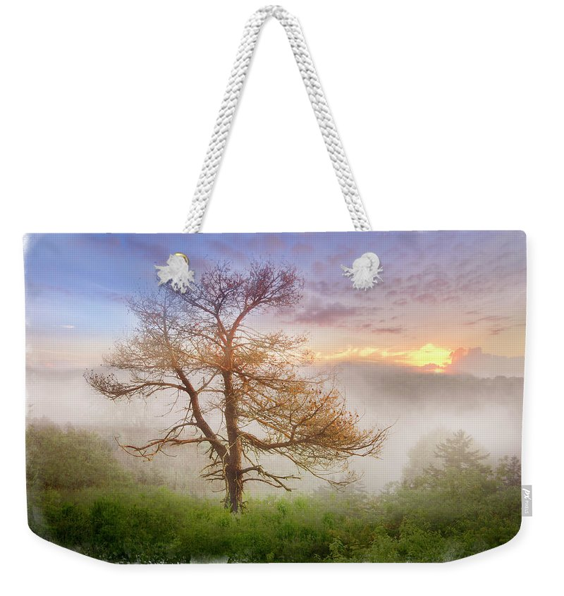 Appalachia Weekender Tote Bag featuring the photograph Misty Mountain by Debra and Dave Vanderlaan
