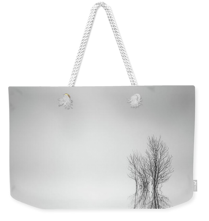 Columbia River Weekender Tote Bag featuring the photograph Misty Simplicity by Don Schwartz