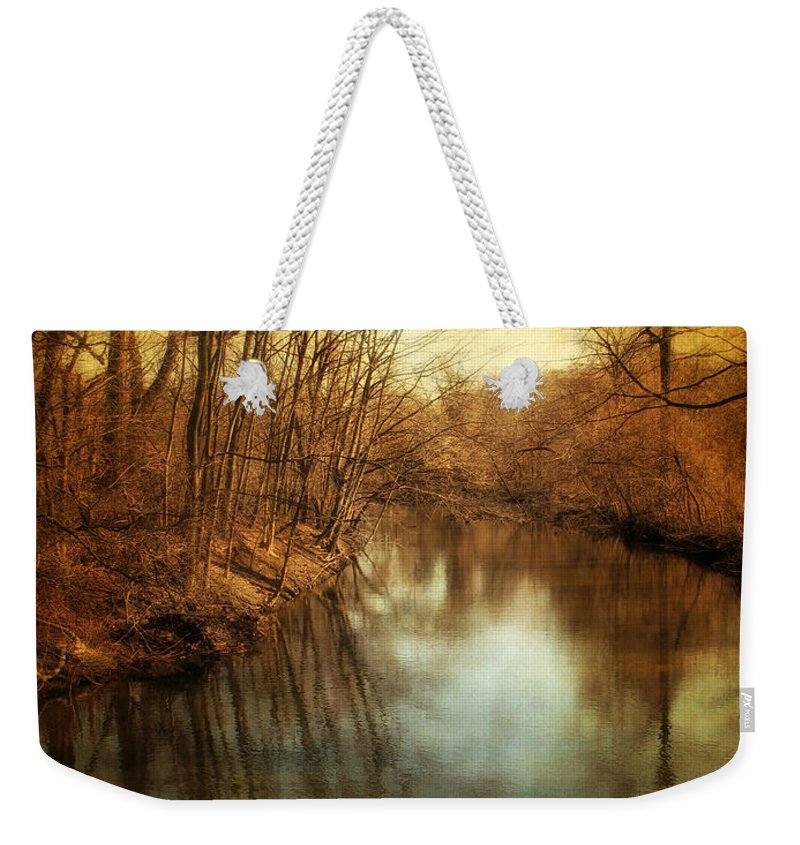 Landscape Weekender Tote Bag featuring the photograph Misty Waters by Jessica Jenney