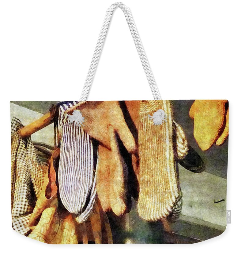 Mittens Weekender Tote Bag featuring the photograph Mittens In General Store by Susan Savad