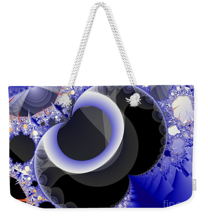Fractal Image Weekender Tote Bag featuring the digital art Mix Of Blue And Gray by Ron Bissett