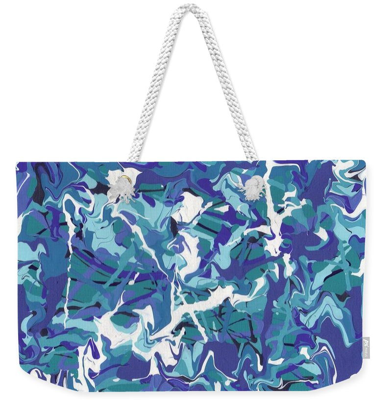 Swirls Weekender Tote Bag featuring the painting Mix Of Blues by Jill Christensen