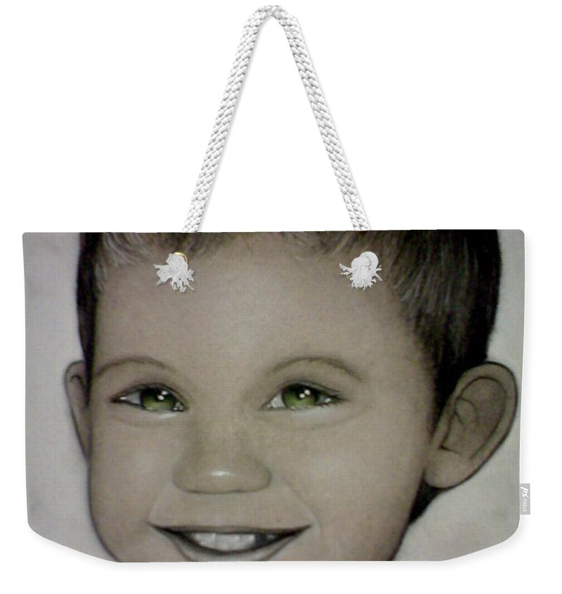 Portrait Weekender Tote Bag featuring the drawing Mixalis by Catt Kyriacou