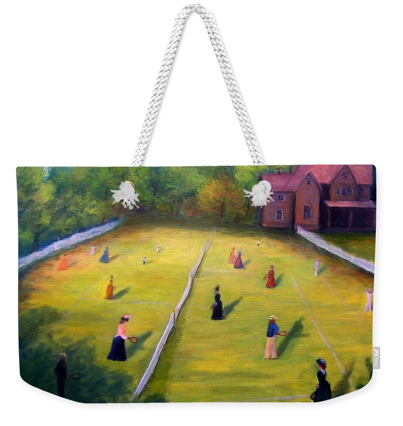 Tennis Art Weekender Tote Bag featuring the painting Mixed Doubles by Gail Kirtz