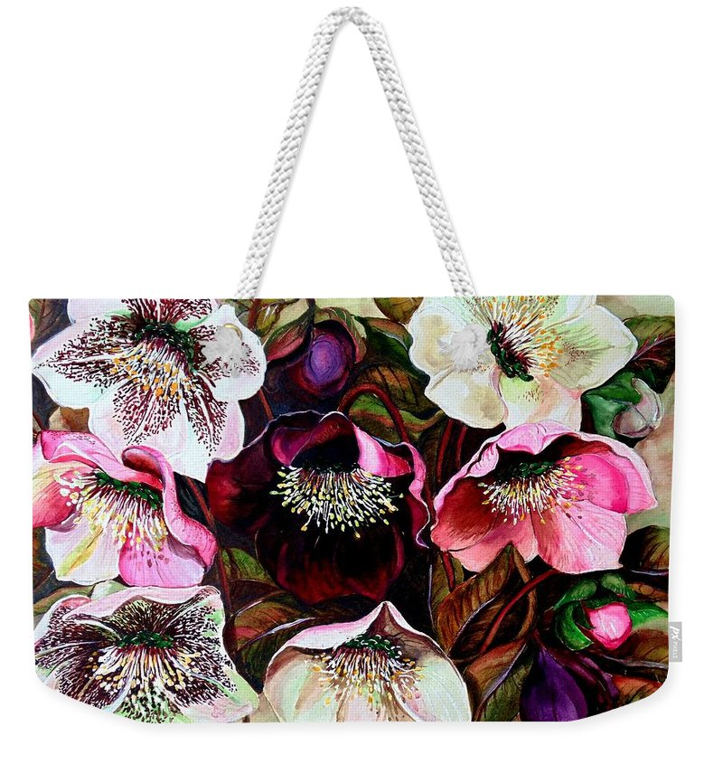 Pink Floral Weekender Tote Bag featuring the painting Mixed Hellebore by Karin Dawn Kelshall- Best