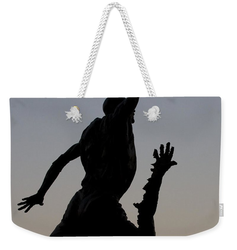 Chicago United Center Mj Micheal Jordan 23 Dark Basketball Weekender Tote Bag featuring the photograph MJ by Andrei Shliakhau