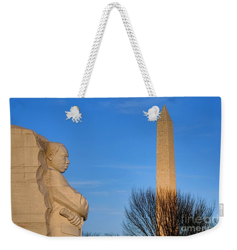 Washington Weekender Tote Bag featuring the photograph Mlk And Washington Monuments by Olivier Le Queinec