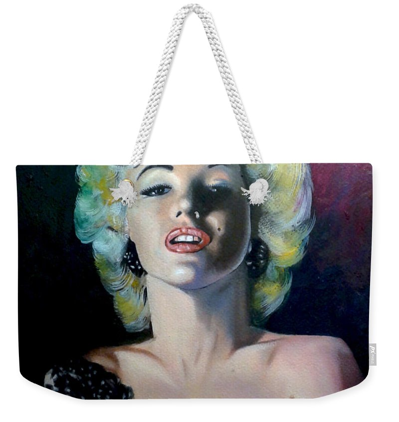 M Monroe Weekender Tote Bag featuring the painting M.Monroe 3 by Jose Manuel Abraham