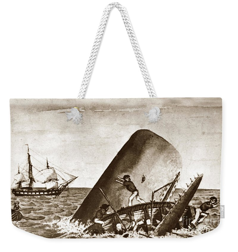 Moby Dick Weekender Tote Bag featuring the photograph Moby Dick Both Jaws, Like Enormous Shears Bit The Craft Complete In Half by California Views Mr Pat Hathaway Archives